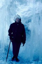 Jackie poses in an ice cave near McMurdo base in 1971.  Navy photo